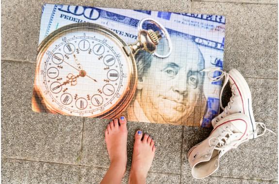 Rohožka - Time is money, 45x75 cm (1+1 zdarma)