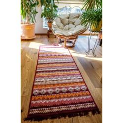 Tkaný koberec Kelim K845C 80x200cm, vínový