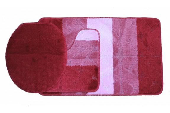 Koupelnová předložka Comfort Gold - červená/růžová, set 3 ks