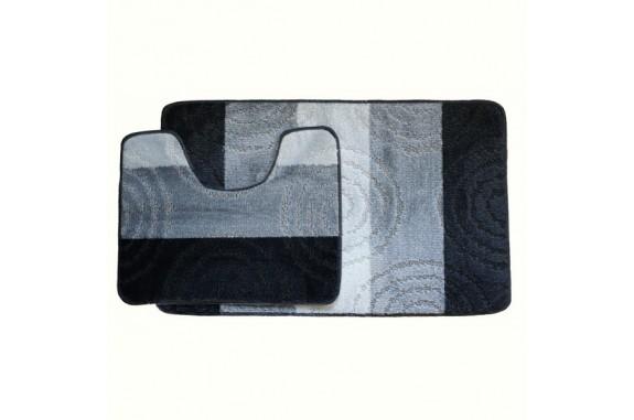 Koupelnová předložka Comfort Silver - šedá/černá -set 2 ks