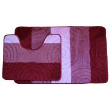 Koupelnová předložka Comfort Silver- červená/růžová, set 2 ks