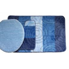 Koupelnová předložka Comfort Silver- modrá - set 3 ks