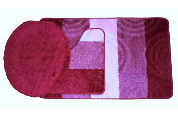 Koupelnová předložka Comfort Silver - červená/růžová, set 3 ks
