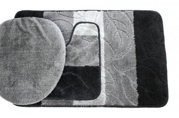 Koupelnová předložka Comfort - černá/šedá - set 3 ks