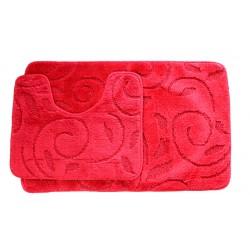 Koupelnová předložka Comfort - červená, větvička - set 2 ks + dárek