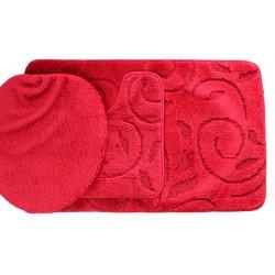 Koupelnová předložka Comfort - červená, větvička -set 3 ks