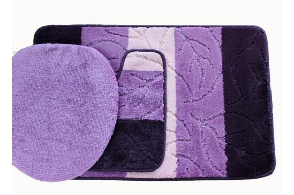 Koupelnová předložka Comfort - fialová - set 3 ks