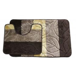 Koupelnová předložka Comfort - hnědá, lístečky -set 2 ks