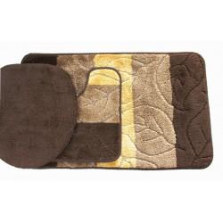 Koupelnová předložka Comfort - hněda, lístečky - set 3 ks