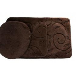 Koupelnová předložka Comfort - hnědá, větvička -set 3 ks