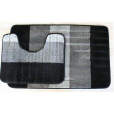 Koupelnová předložka Comfort -Toronto, černá/šedá -set 2 ks