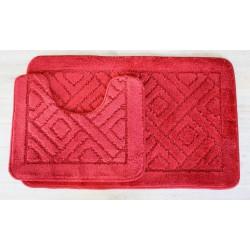 Koupelnová předložka Comfort - červená, set 2 ks