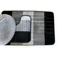 Koupelnová předložka Comfort -Toronto, černá/šedá - set 3 ks