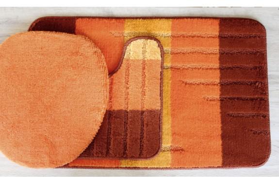 Koupelnová předložka Comfort - oranžová 1- set 3 ks