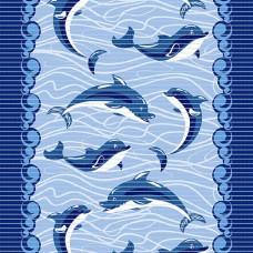 Pěnová koupelnová PVC předložka AquaNova - 510A delfíny - šířka 65cm, metráž