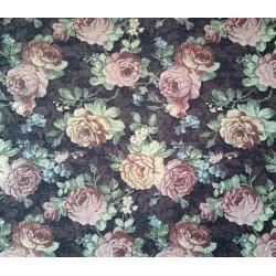 Potahová gobelínová látka Gold  růže - černá