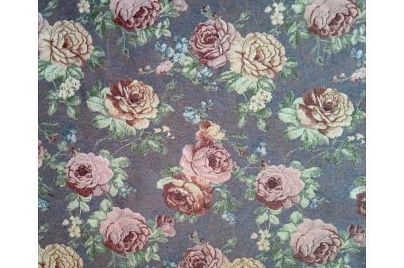 Potahová gobelínová látka Gold  růže - šedá