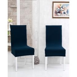 Potah napínací na židli s opěradlem - tmavě modrý - 2 ks