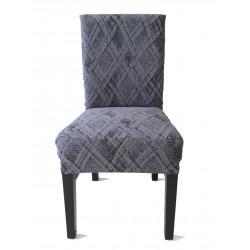Potah napínací na židli s opěradlem Classic - šedý - 2 ks