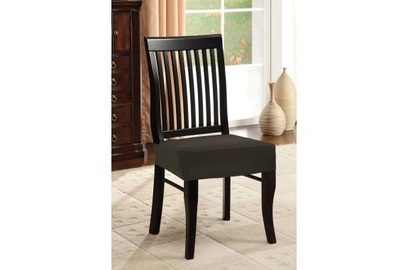 Potah napínací na židli bez opěradla  - hnědý - 2 ks