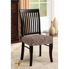 Potah napínací na židli bez opěradla Baroko - hnědý - 2 ks