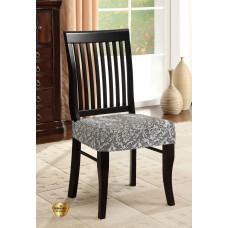 Potah napínací na židli bez opěradla Baroko - šedý - 2 ks