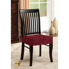 Potah napínací na židli bez opěradla Baroko - vínový - 2 ks