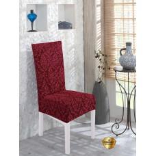 Potah napínací na židli s opěradlem Baroko - vínový - 2 ks