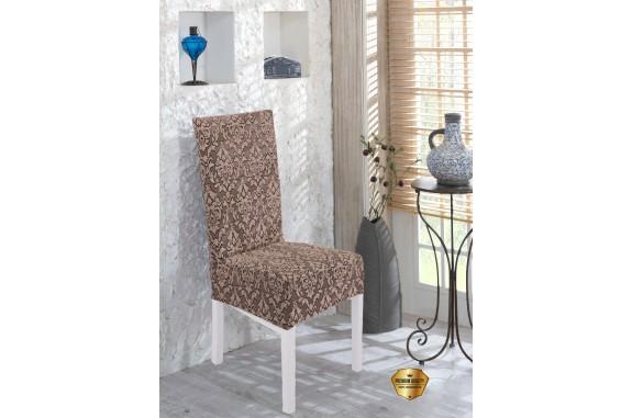 Potah napínací na židli s opěradlem Baroko - hnědý - 2 ks