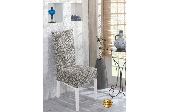 Potah napínací na židli s opěradlem Baroko - šedý - 2 ks