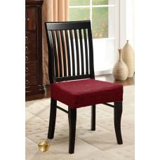 Potah napínací na židli bez opěradla Modern - vínový - 2 ks