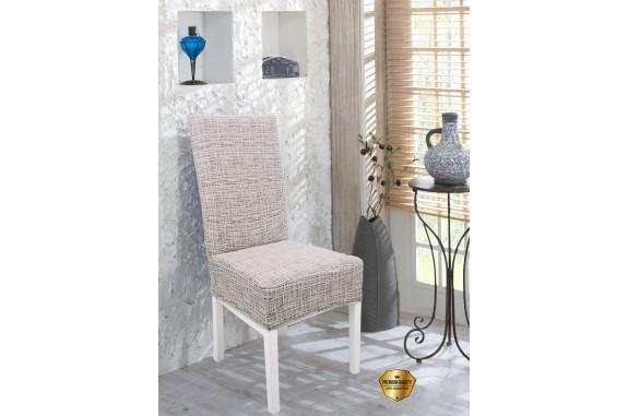 Potah napínací na židli s opěradlem Modern - cream - 2 ks