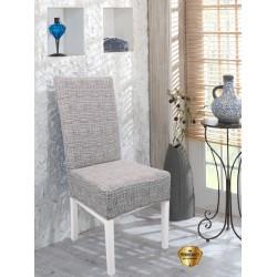 Potah napínací na židli s opěradlem Modern - šedý - 2 ks