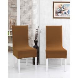 Potah napínací na židli s opěradlem Rafail - cappuccino hnědý - 2 ks