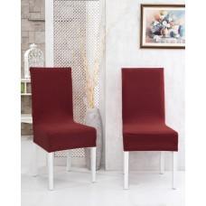 Potah napínací na židli s opěradlem Rafail - vínový - 2 ks