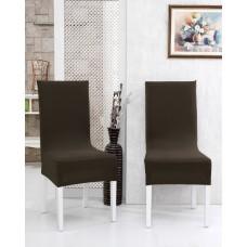 Potah napínací na židli s opěradlem Rafail - hnědý - 2 ks