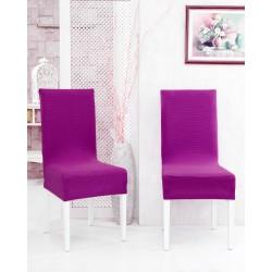 Potah napínací na židli s opěradlem Rafail - purpurový - 2 ks