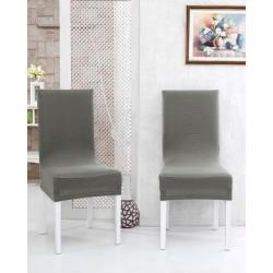 Potah napínací na židli s opěradlem Rafail - šedý - 2 ks