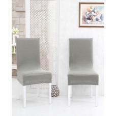 Potah napínací na židli s opěradlem Rafail -světle šedý - 2 ks