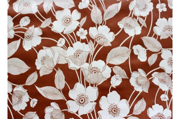 Ubrus PVC AT-370 - Květiny - hnědý, 20 m
