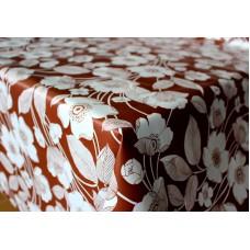 Ubrus PVC AT-320 - Květiny - hnědý, metráž