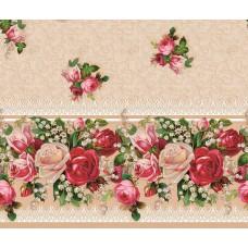 Ubrus PVC Mirella M-013a -  konvalinky a růže, metráž