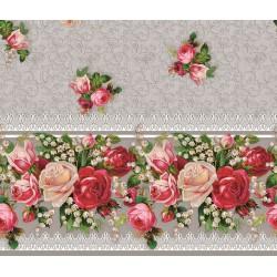 Ubrus PVC Mirella M-013b -  konvalinky a růže na šedém, role 20 m