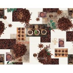 Ubrus PVC Mirella M-142A - Coffee, role 20 m