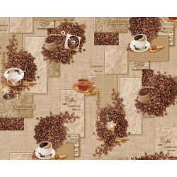 Ubrus PVC Mirella M-178A - Coffee, role 20 m