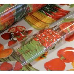 Ubrus PVC průhledný s potiském - zelenina a ovoce, metráž