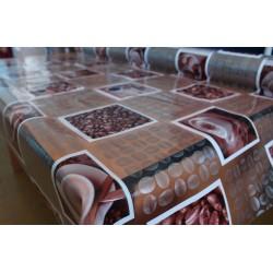 Ubrus PVC průhledný - kávový motiv, role 140cmx20m