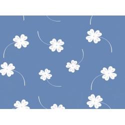 Ubrus PVC průhledný s bílým potiskem - květiny, role 130cmx35m