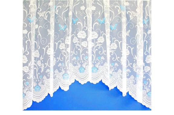 Hotová oblouková žakárová záclona Motýl modrý/ vzor 7514, 180x320cm