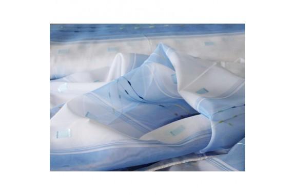 Voálová záclona 960-06-  modrá, výška 160cm, metráž